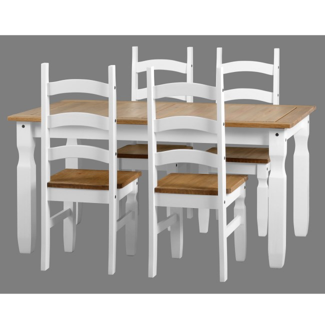Dining Table with 4 Chairs in White & Solid Pine - Corona