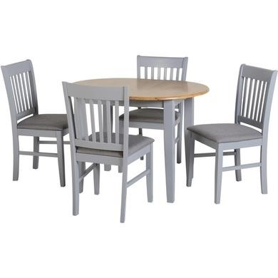 Seconique Oxford Extending Dining Set In Grey Natural Oak