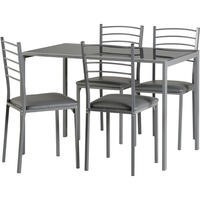 Seconique Marley Grey Metal and Glass Dining Set