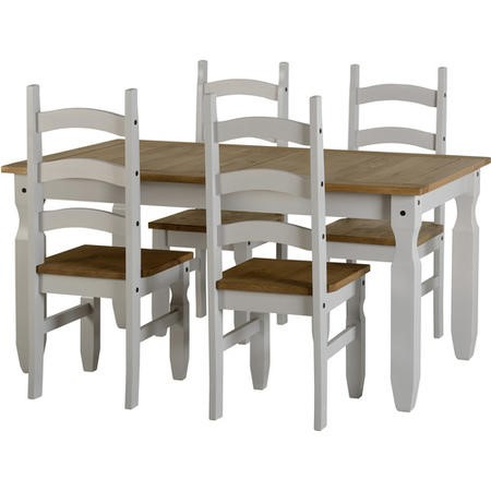 GRADE A2 - Corona Grey Dining Set with 4 Chairs