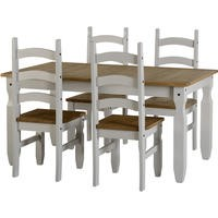 Seconique Corona Grey 5' Dining Table and 4 Chairs