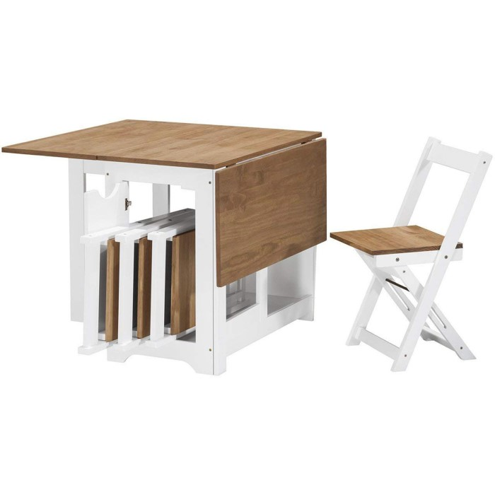 Small Wood Table And Chairs: Fold Up Wooden Dining Table 4 Chairs Wood Extending Small