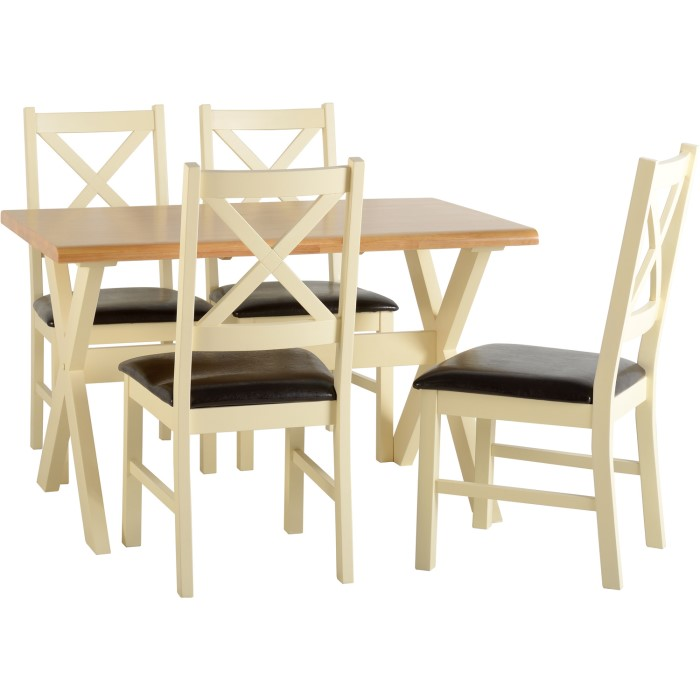 Seconique Portland Dining Set With 4 Chairs In Natural And Cream