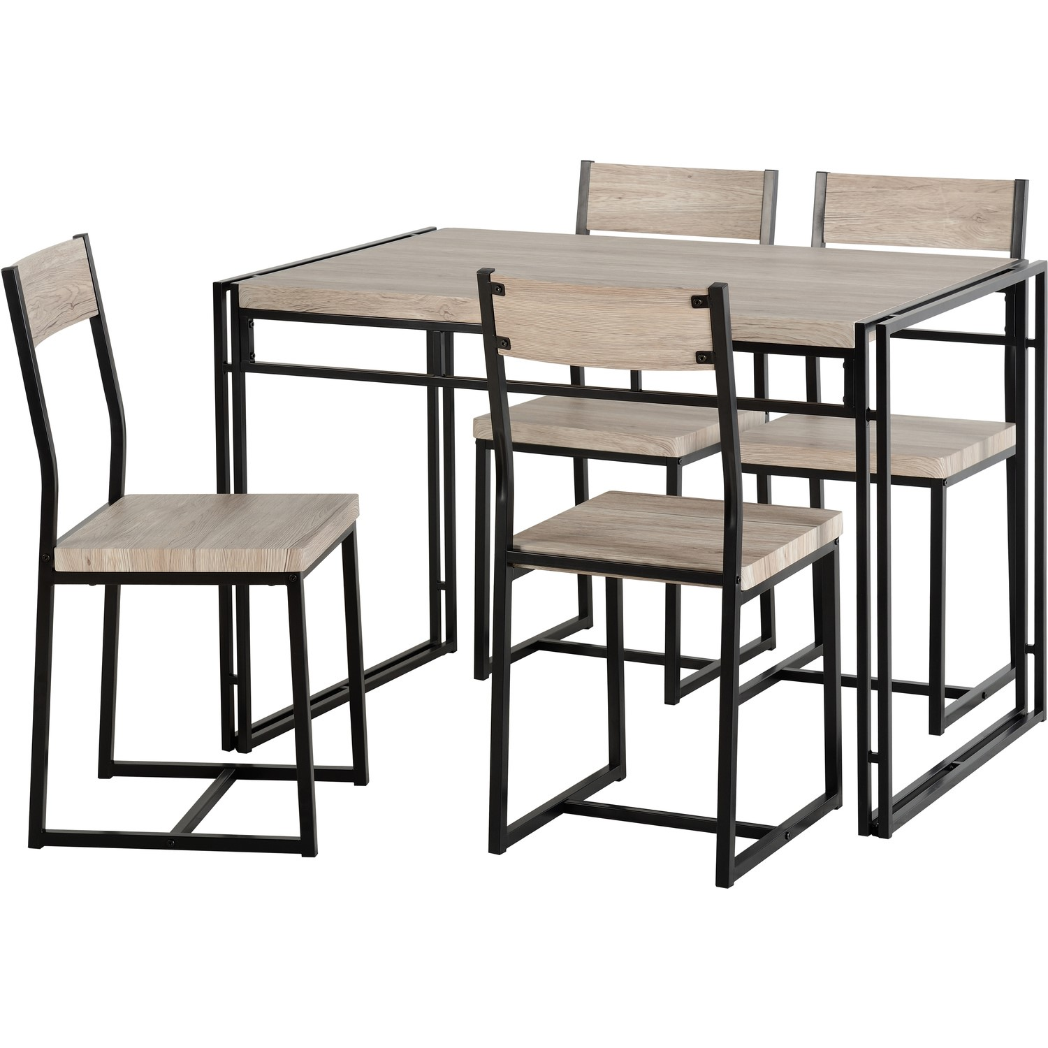 Warwick Dining Set Oak Effect And Metal Dining Table 4 Chairs