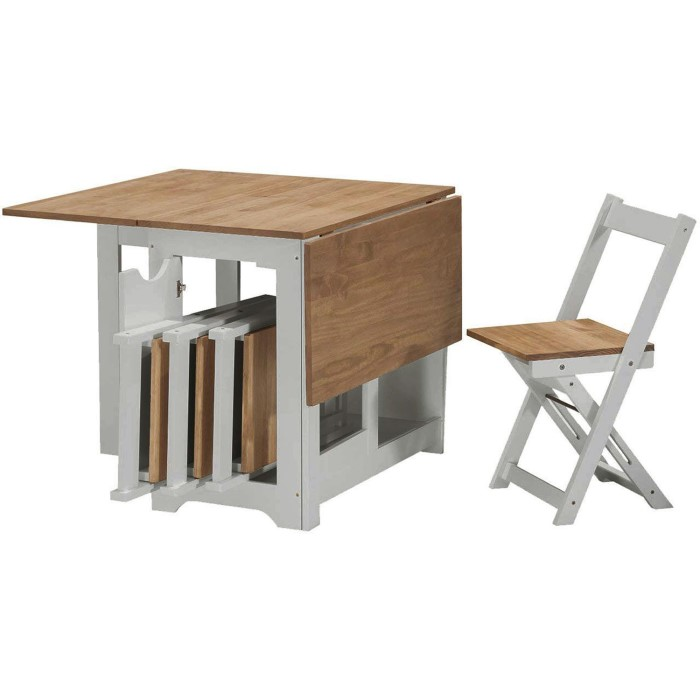 Seconique Santos Butterfly Folding Dining Set In Grey Pine With 4