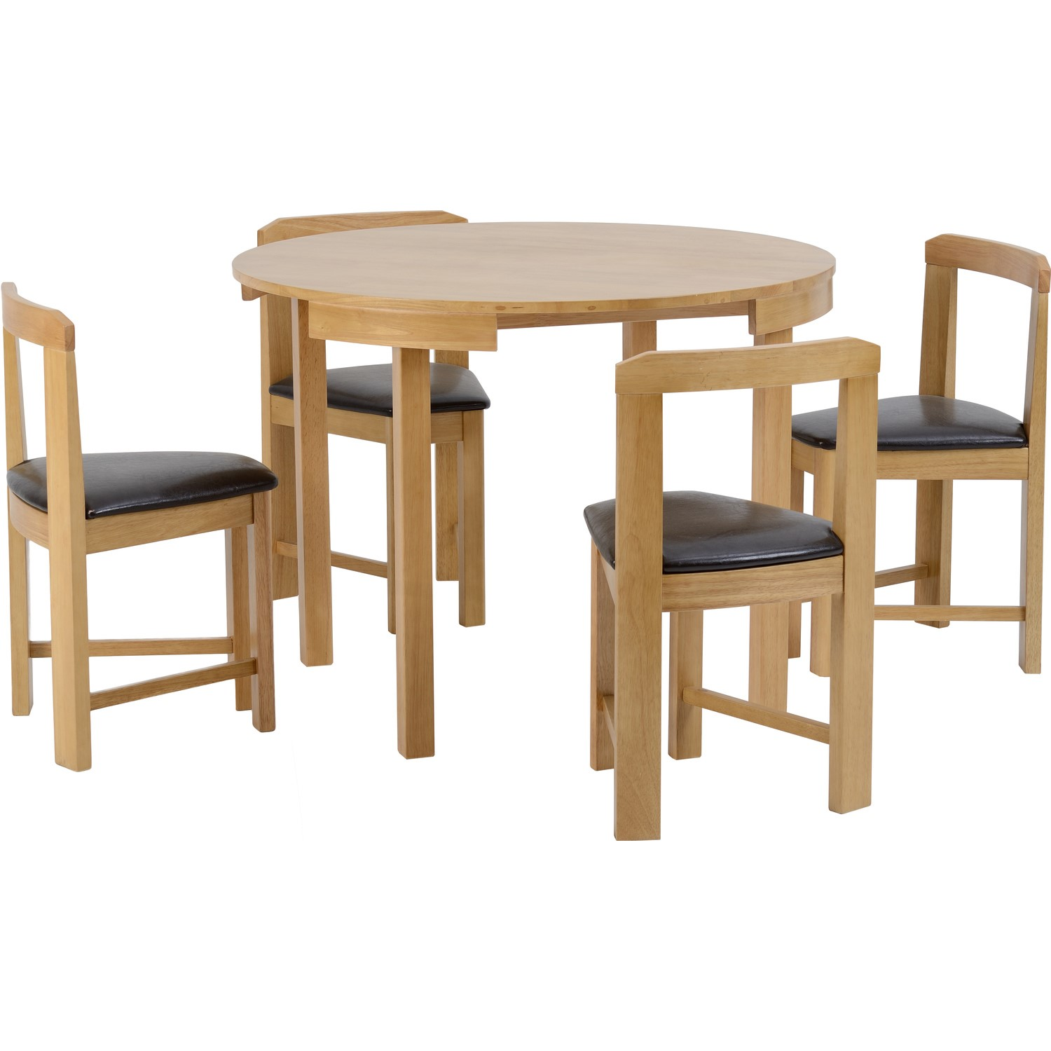 Amazing Seconique Windsor Stowaway Dining Set In Oak With Brown Faux Leather Chairs Home Interior And Landscaping Ologienasavecom