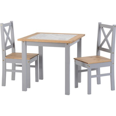 Seconique Salvador Tile Top Dining Table and 2 Chairs in Grey and Pine
