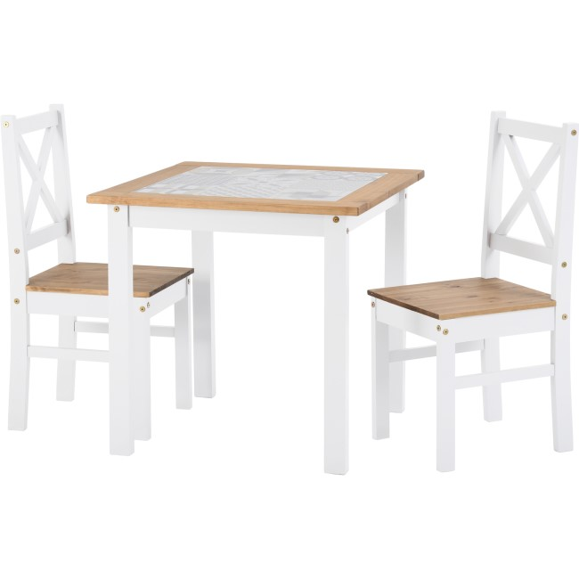 Seconique Salvador Tile Top Dining Table and 2 Chairs in White and Pine