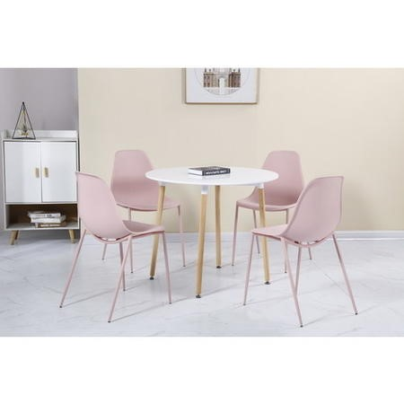 Lindon White and Oak Dining Set 4 Pink Chairs