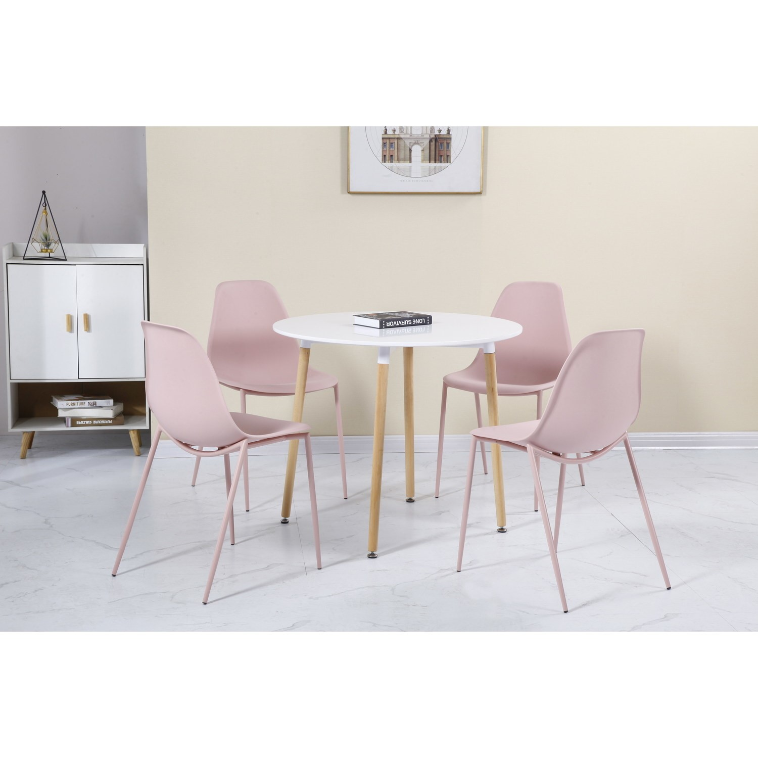 Picture of: Lindon White And Oak Dining Set 4 Pink Chairs Furniture123