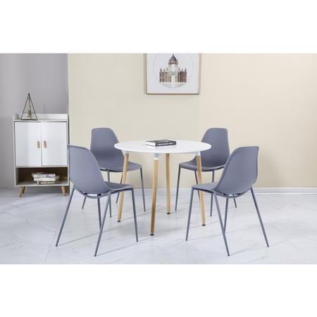 Lindon White and Oak Dining Set 4 Grey Chairs