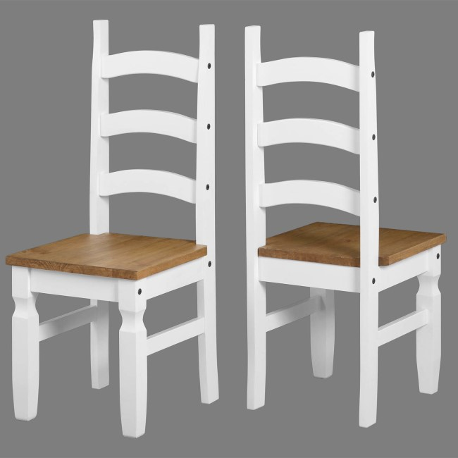 Set of 2 Dining Chairs in White & Pine - Corona
