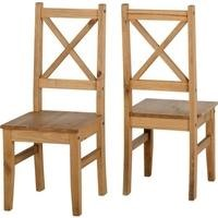 Seconique Salvador Solid Pine Pair of Dining Chairs
