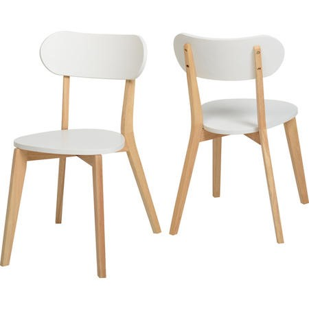 Seconique Stacking Pair of Chairs in White and Natural