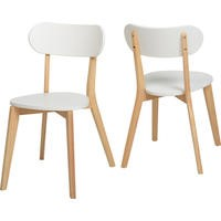 Seconique Julian Stacking Pair of Chairs in White and Natural