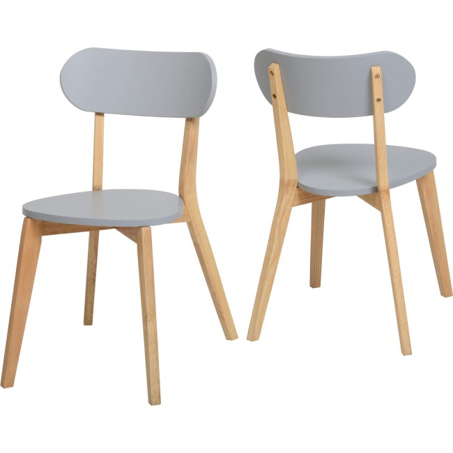 Seconique Pair of Grey and Natural Stacking Chairs