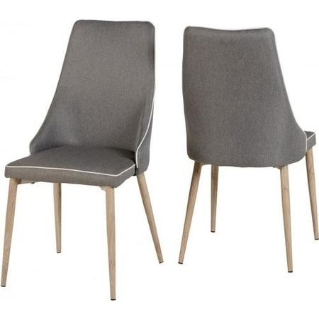 Seconique Finley Pair of Grey Fabric Dining Chairs