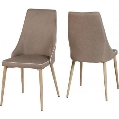 Seconique Pair of Finley Beige Fabric Chairs