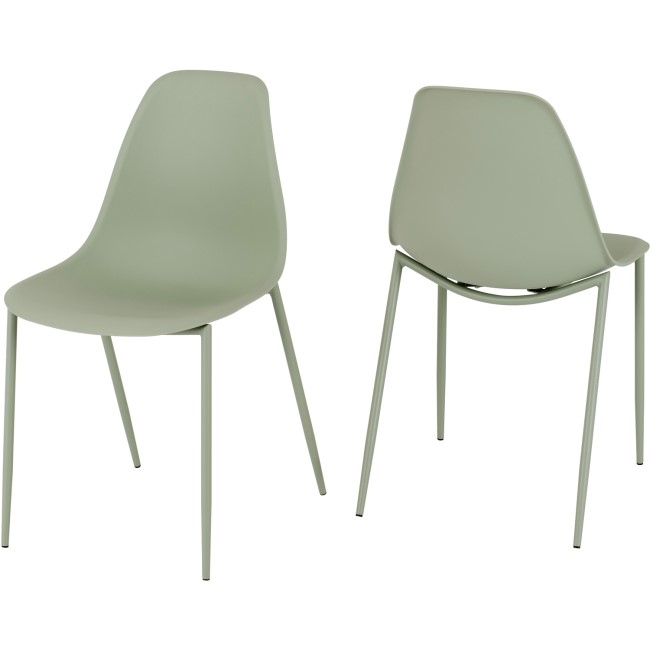 Lindon Plastic Green Pair of Dining Chair's