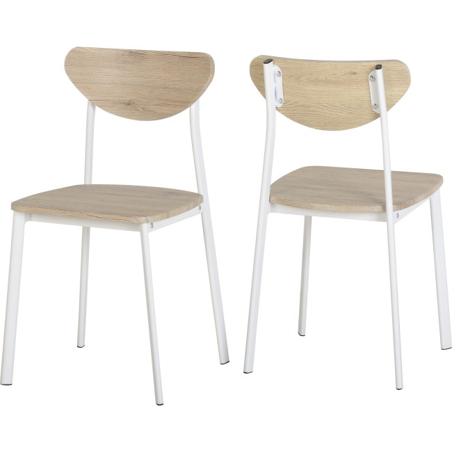 Riley White Dining Chair in Light Oak Effect Veneer
