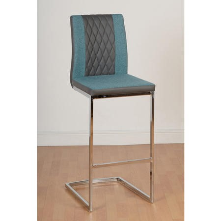 Sienna Bar Chair in Grey Faux Leather Teal Fabric Chrome Frame