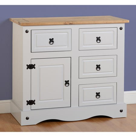 Corona Small Grey Sideboard with Sold Pine Top & Storage - Seconique