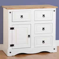 Seconique Corona White 1 Door 4 Drawer Sideboard