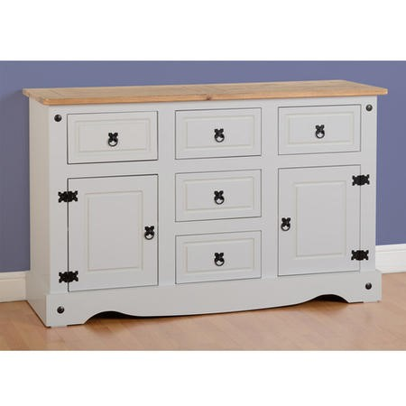 Seconique Corona Grey Painted Sideboard with 2 Doors & 5 Drawers with Solid Pine Top