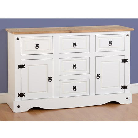 Seconique Corona White Painted Sideboard with 2 Doors & 5 Drawers with Waxed Pine Top