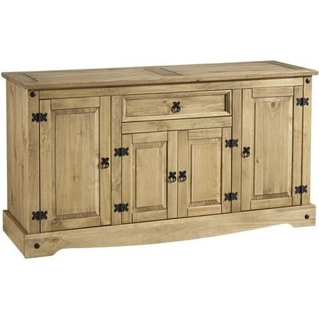 Seconique Corona Waxed Pine Sideboard with 4 Doors & 1 Drawer with Black Handles