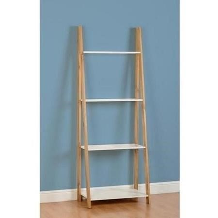 Seconique Santos 4 Shelf Unit in White/Distressed Waxed Pine