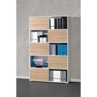 Germania Decor Sliding Door Display Cabinet In White and Oak