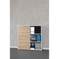 Germania 6 Door Sliding Display Cabinet In Oak and White
