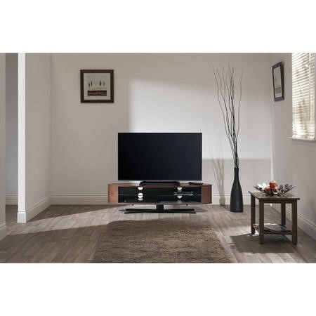 "Techlink EL140DOSG Ellipse TV Stand for up to 70"" TVs - Dark Oak/Satin Grey"