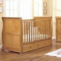 East Coast Langham Oak Sleigh Cot Bed with Drawer