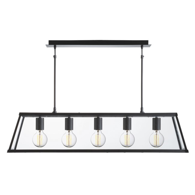 5 Light Ceiling Light in Matt Black & Glass