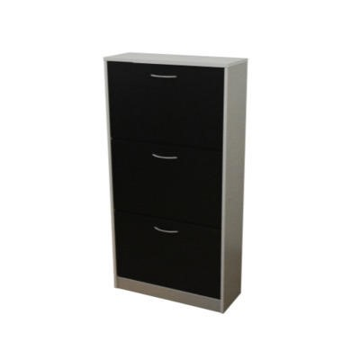 Meuble 3 Tier Shoe Cabinet In Grey and Black -24 Pairs