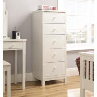 Bentley Designs Atlanta 5 Drawer Tall Chest In White