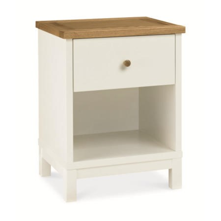 Bentley Designs Atlanta 1 Drawer Nightstand In White and Oak