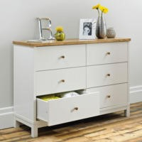 Bentley Designs Atlanta 6 Drawer Wide Chest In White and Oak