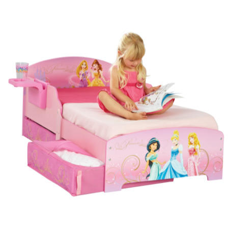 Worlds Apart Disney Princess Toddler Bed With Bedside Shelf And