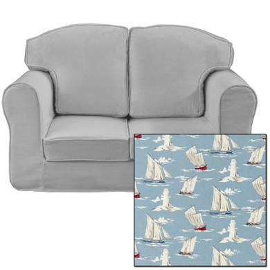 Just4Kidz Loose Cover Sofa in Sail Boats