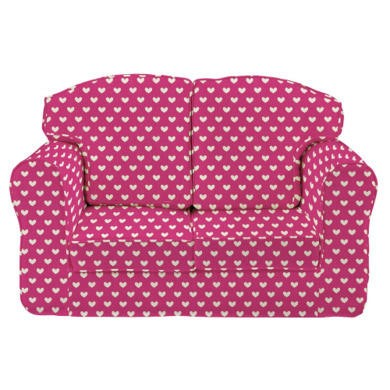Just4Kidz Loose Cover Sofa in Pink Hearts