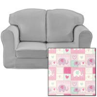 Just4Kidz Loose Cover Sofa in Patchwork Elephants