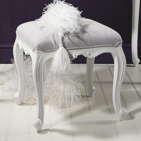 Gallery Chic White Dressing Table Stool with Fabric Seat