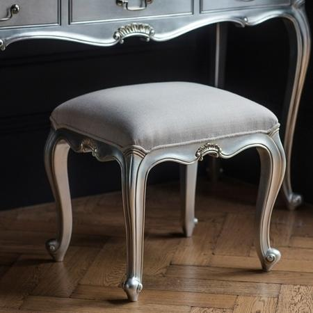 Gallery Chic Silver Dressing Table Stool