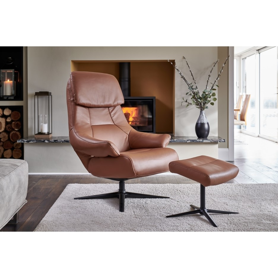 Sydney Light Brown Faux Leather Chair & Footstool - Swivel ...