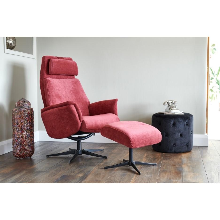 Albury Plum Purple Recliner Chair & Footstool - Swivel ...