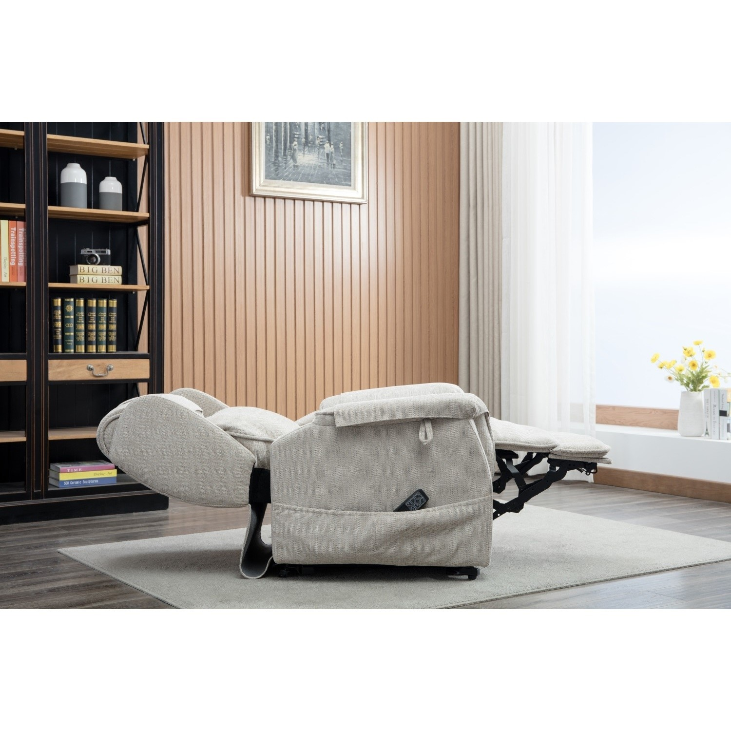 Ascot Cream Fabric Riser Recliner Chair With Remote Control Lillie Sand