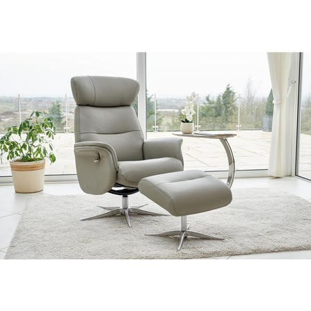 Panama Swivel Recliner & Footstool in Grey Leather